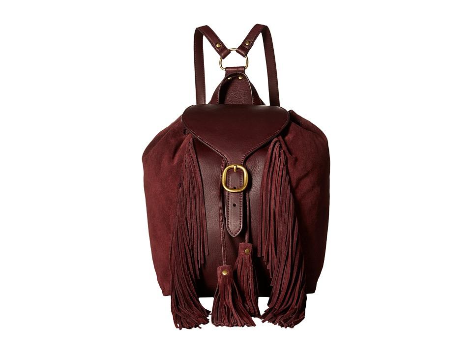 Frye - Clara Fringe Backpack (Wine Soft Vintage Leather/Suede) Backpack Bags