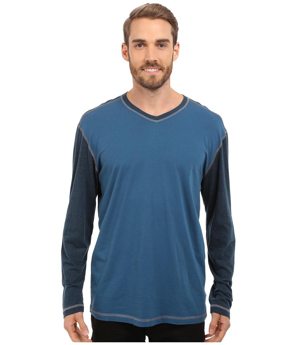 Agave Denim Nichols Baseball V Neck Long Sleeve Blue Wing Teal Mens Clothing