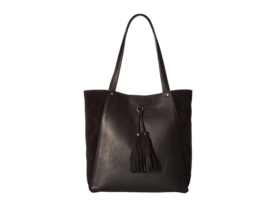Frye - Clara Tote (Black Soft Vintage Leather/Suede) Tote Handbags