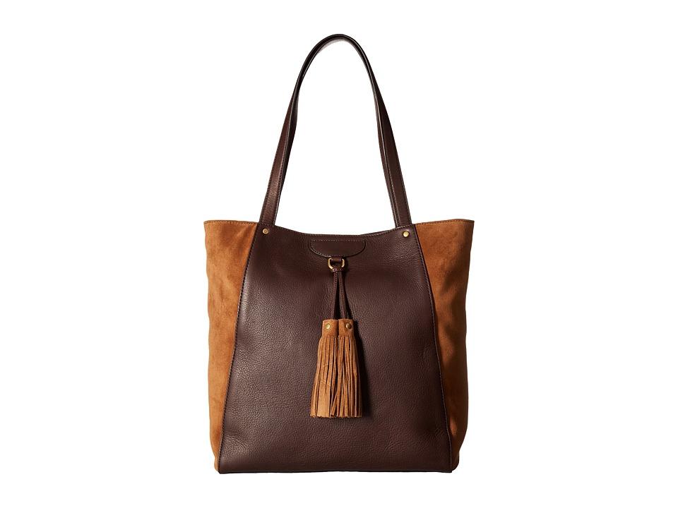 Frye - Clara Tote (Dark Brown Soft Vintage Leather/Suede) Tote Handbags
