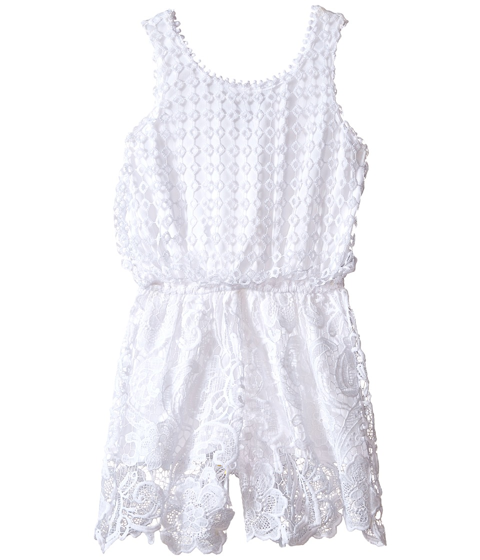 Ella Moss Girl Alma Crochet Lace Romper Big Kids White Girls Jumpsuit Rompers One Piece