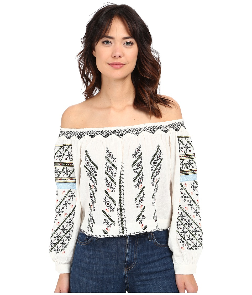 Free People All I Need Embroidered Top Ivory Combo Womens Blouse