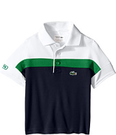 Lacoste Kids - Short Sleeve Ultra Dry Stripe Blocked Polo (Toddler/Little Kids/Big Kids)