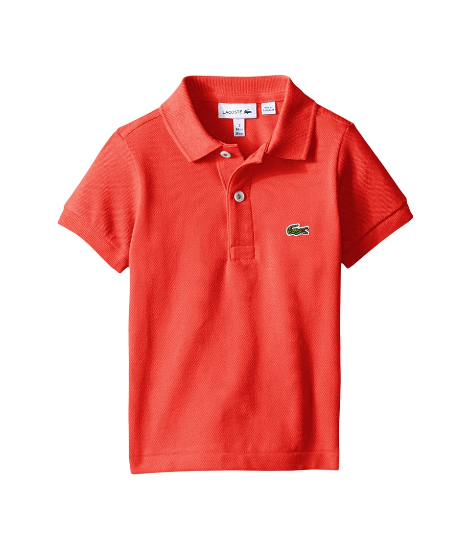 Lacoste Kids - Short Sleeve Classic Pique Polo Shirt (Toddler/Little Kids/Big Kids) (Mango Tree Red) Boy