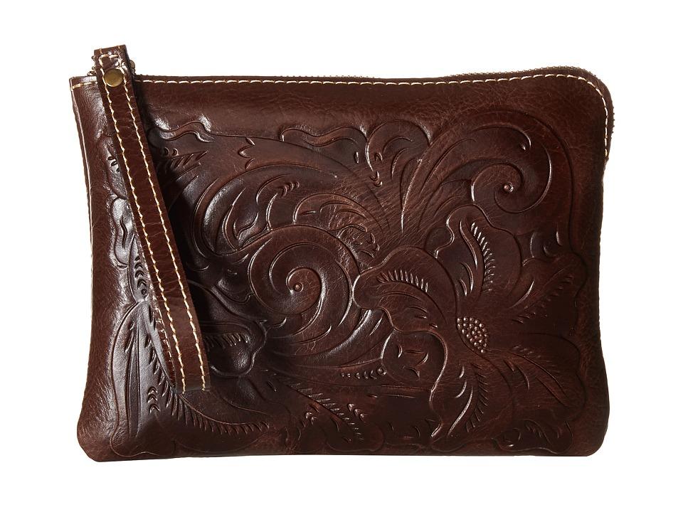Patricia Nash Cassini Tooled Brown Wristlet Handbags