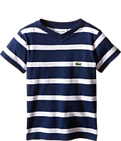 Lacoste Kids - Short Sleeve Stripe V-Neck Tee Shirt (Toddler/Little Kids/Big Kids)