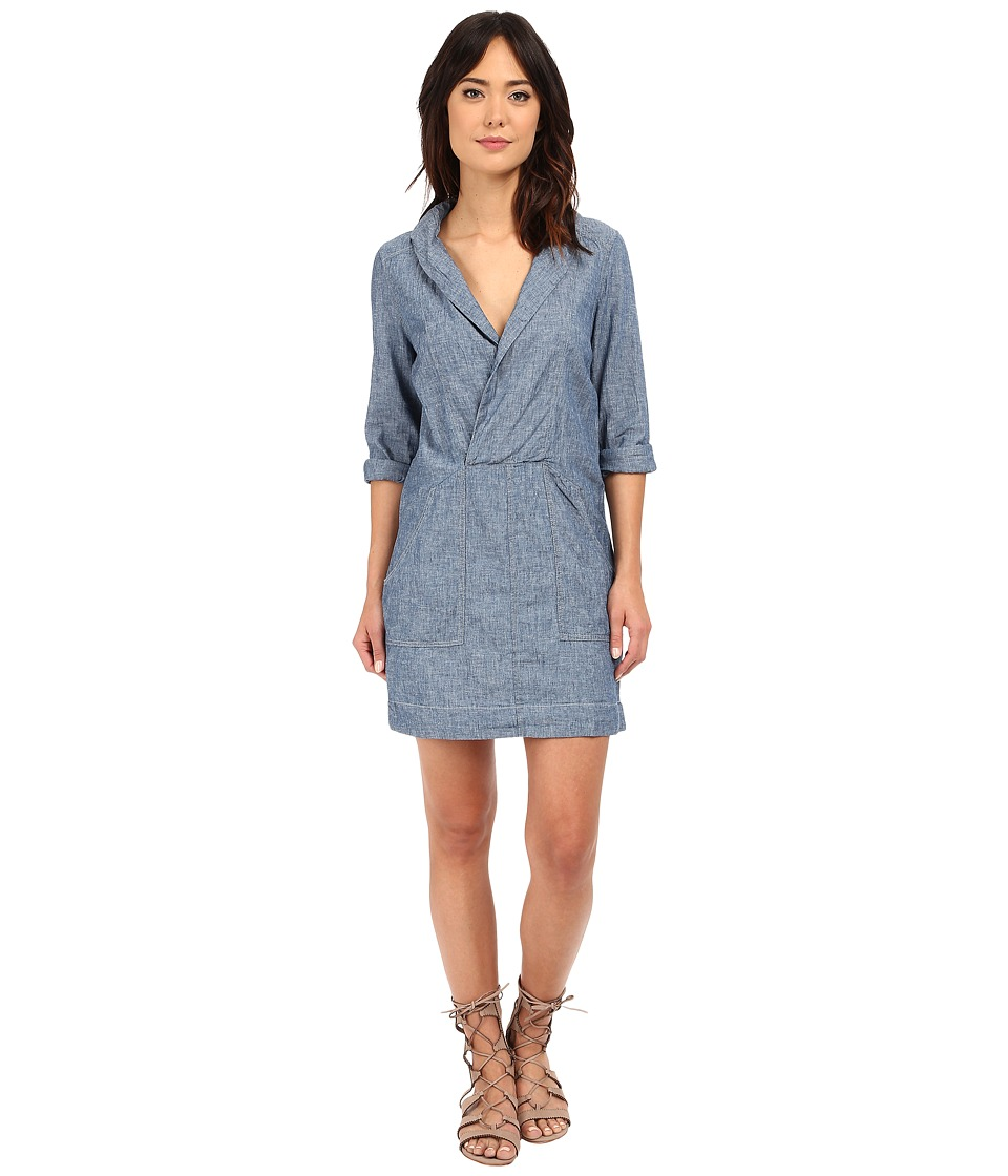 Free People Done Up Denim Mini Dress Sky Blue Combo Womens Dress