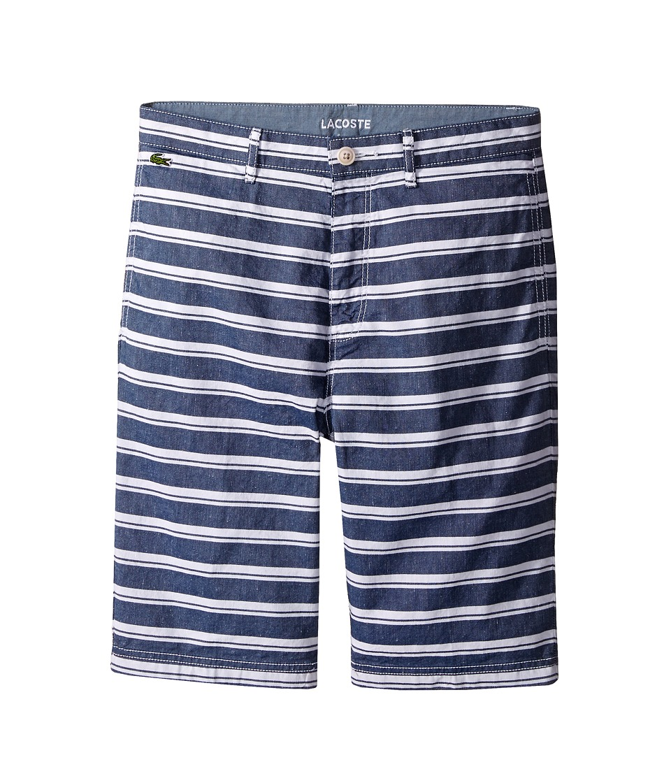 Lacoste Kids Cotton and Linen Stripe Chambray Bermuda Shorts Little Kids/Big Kids Dark Aviator/White Boys Shorts
