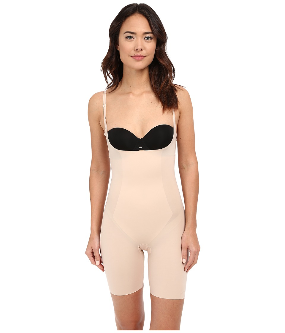 Spanx Thinstincts Open Bust Mid Thigh Bodysuit Soft Nude Womens Jumpsuit Rompers One Piece
