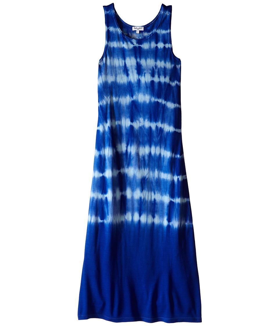 Splendid Littles Tie Dye Hi Low Hem Maxi Dress Big Kids Royal Blue Girls Dress