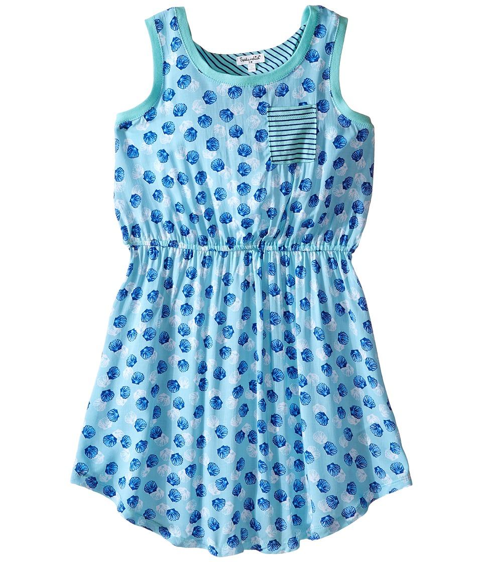 Splendid Littles All Over Print Layered Dress Big Kids Aqua Girls Dress