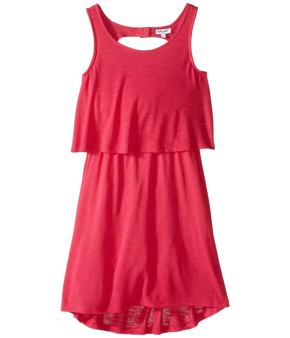 Splendid Littles A Line Dress with Button Detail Big Kids Dark Pink Girls Dress