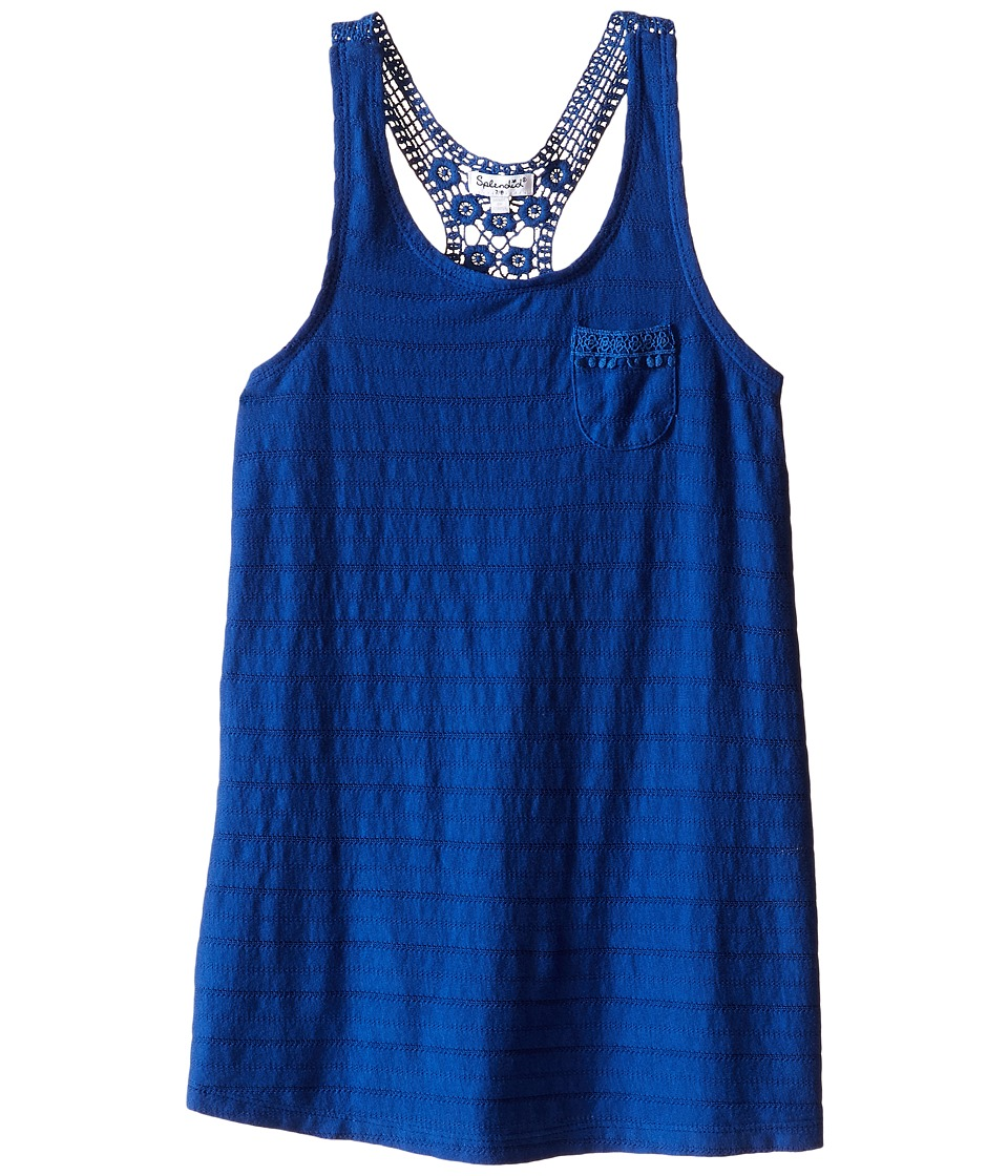 Splendid Littles Leno Stripe Tank Top with Lace Big Kids Royal Blue Girls Sleeveless