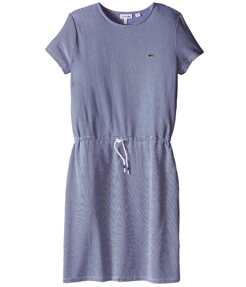 Lacoste Kids Short Sleeve Multi Directional Stripe Drawstring Dress Toddler/Little Kids/Big Kids Explorer Blue/White Girls Dress