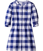 Lacoste Kids - Long Sleeve Checked Woven Dress (Little Kids/Big Kids)