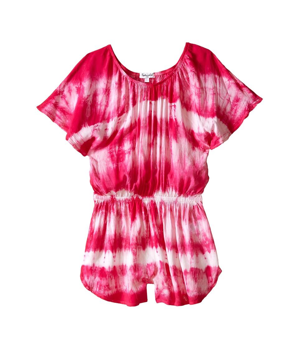 Splendid Littles Tie Dye Romper Big Kids Dark Pink Girls Jumpsuit Rompers One Piece