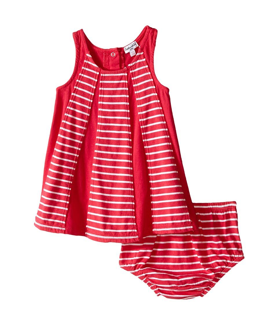 Splendid Littles Striped Dress with Yarn Dye Overlays Infant Dark Pink Girls Dress