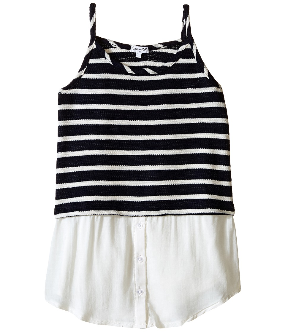 Splendid Littles Striped Split Loose Knit Tank Top Big Kids Navy Girls Sleeveless