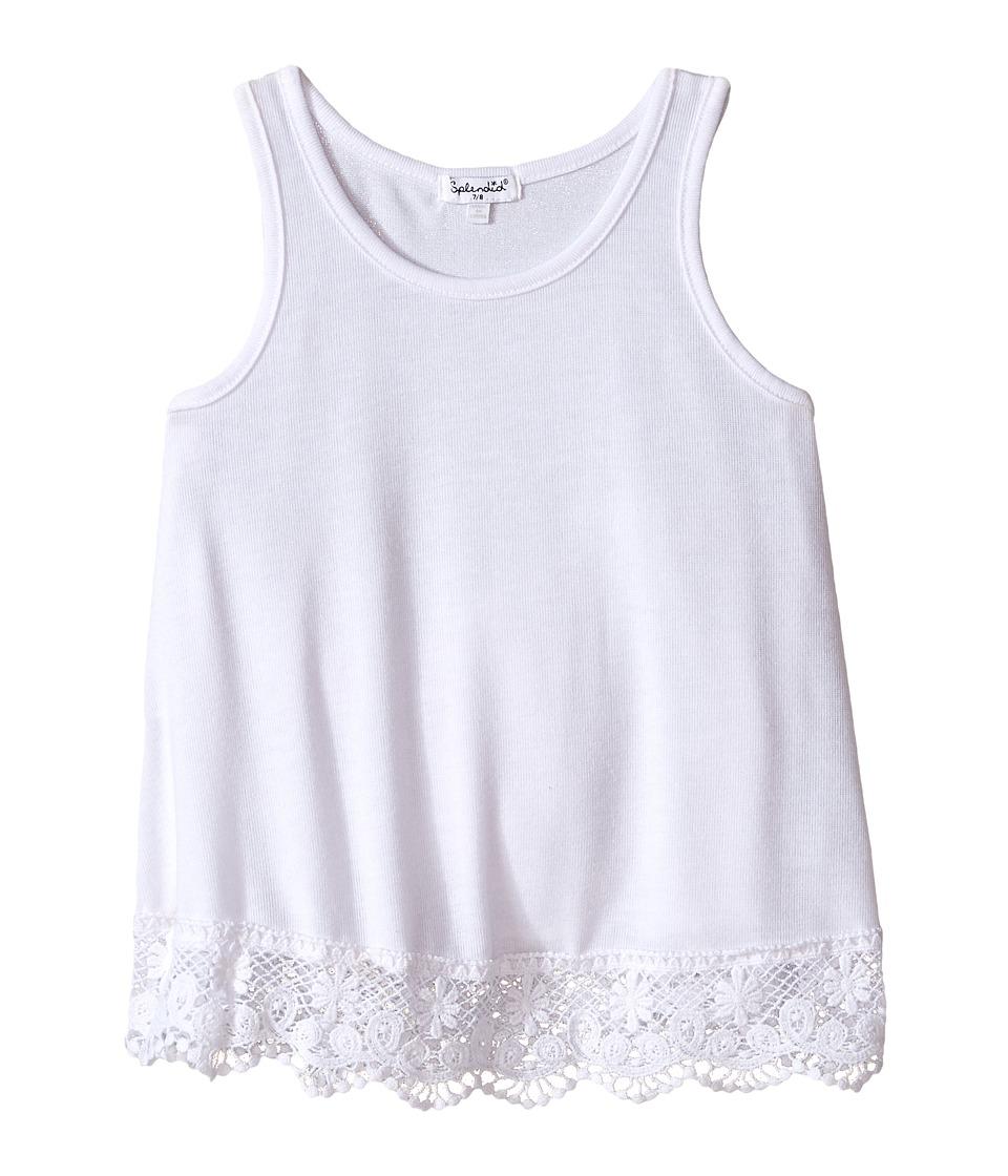 Splendid Littles Loose Knit Tank Top with Lace Hem Big Kids White Girls Sleeveless