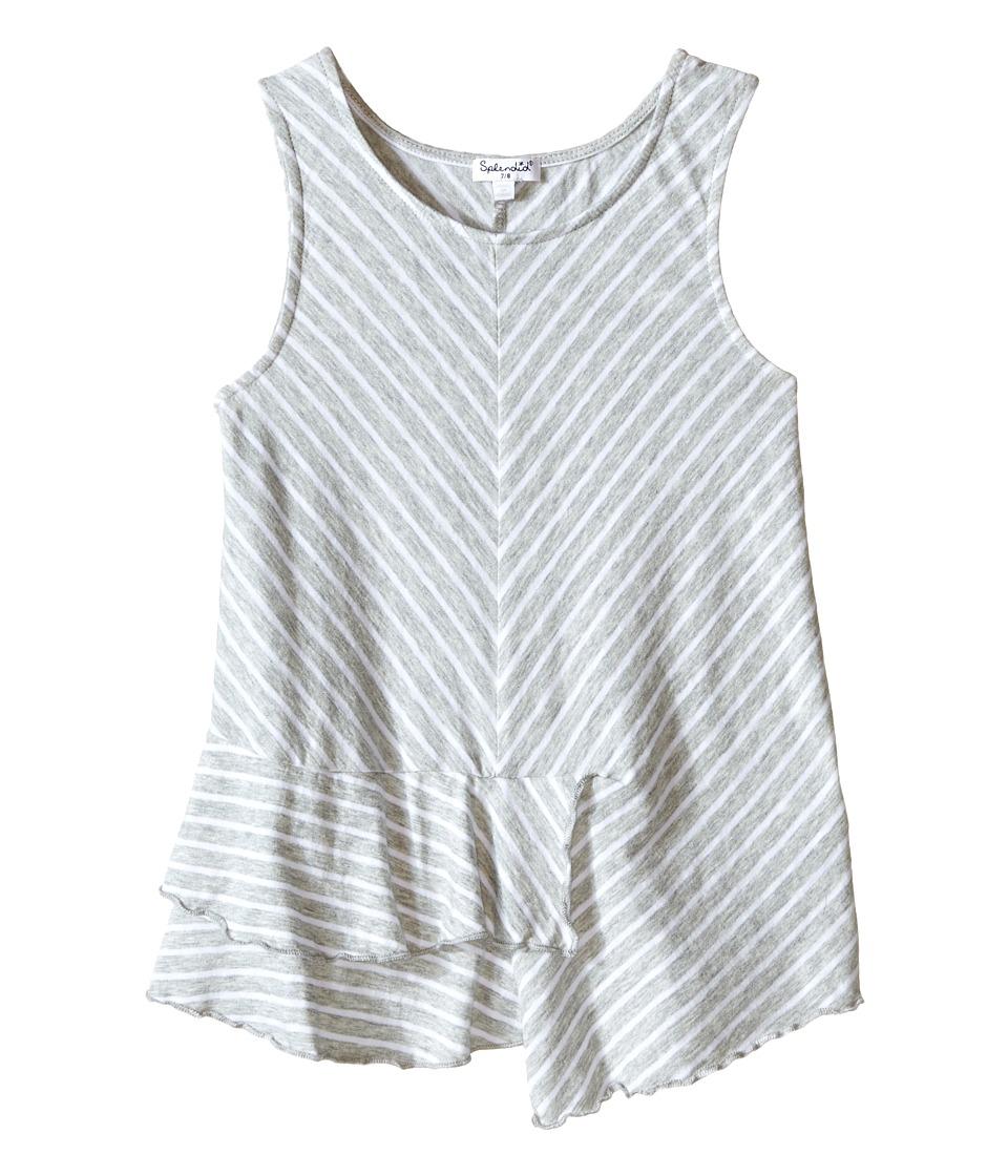 Splendid Littles Striped Yarn Dye Tank Top Big Kids Grey Heather Girls Sleeveless