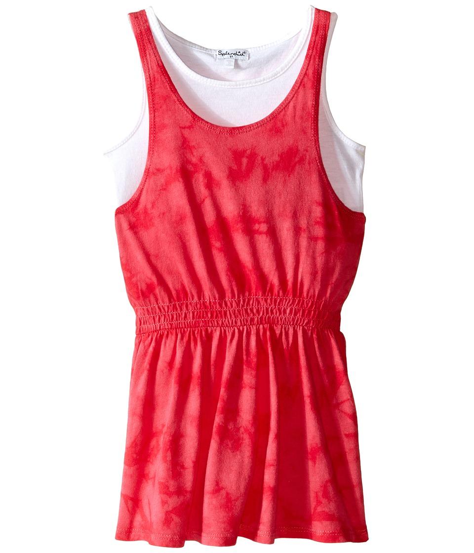 Splendid Littles Tie Dye Dress with Tank Top Toddler Dark Pink Girls Dress