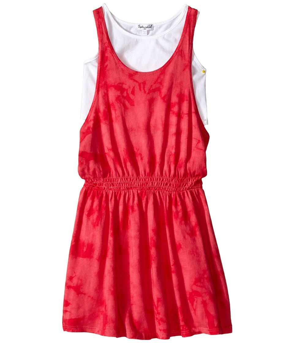 Splendid Littles Tie Dye Dress with Tank Top Little Kids Dark Pink Girls Dress