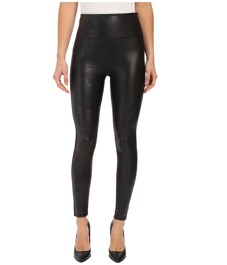 Spanx Cut Sew Cropped Leather Leggings Very Black Womens Clothing
