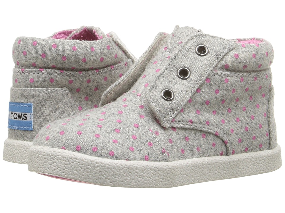 TOMS Kids Paseo High Sneaker (Infant/Toddler/Little Kid) (Grey Wool Polka Dot) Girls Shoes