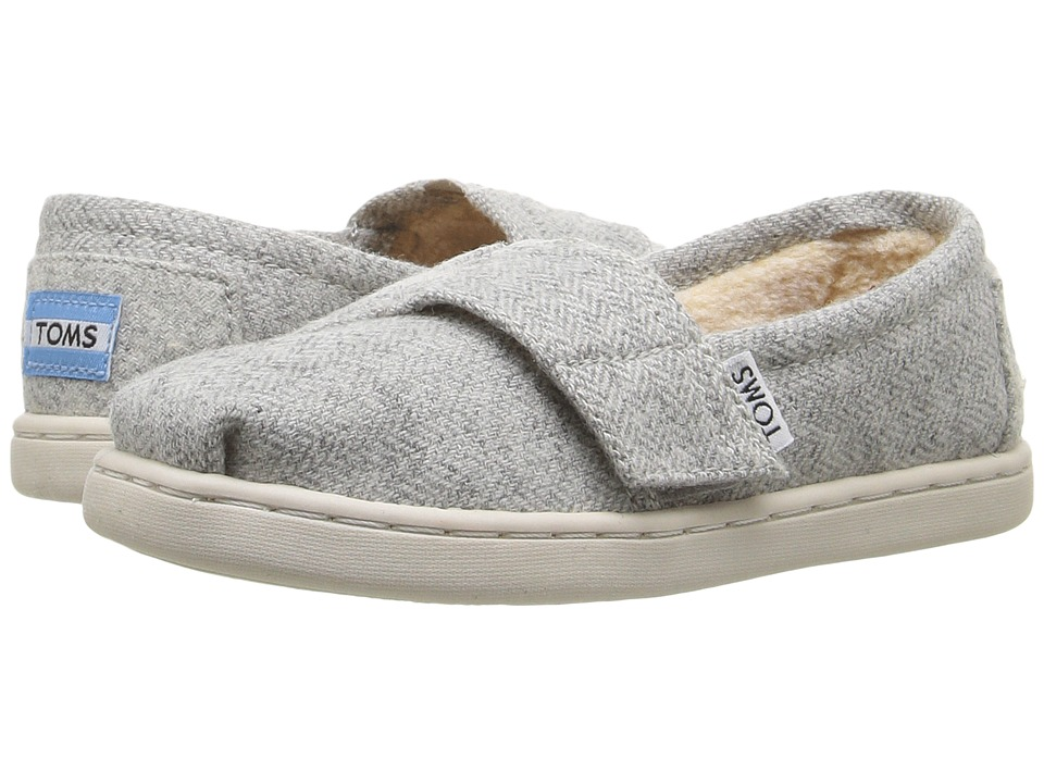 TOMS Kids Seasonal Classics (Infant/Toddler/Little Kid) (Light Grey Herringbone/Shearling) Girls Shoes