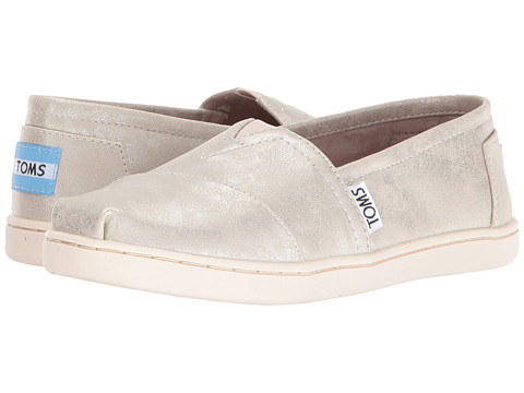 TOMS Kids Seasonal Classics (Little Kid/Big Kid) - White Gold Metallic Synthetic Leather