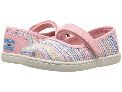 TOMS Kids Mary Jane Flat (Infant/Toddler/Little Kid) - Pink Metallic Woven