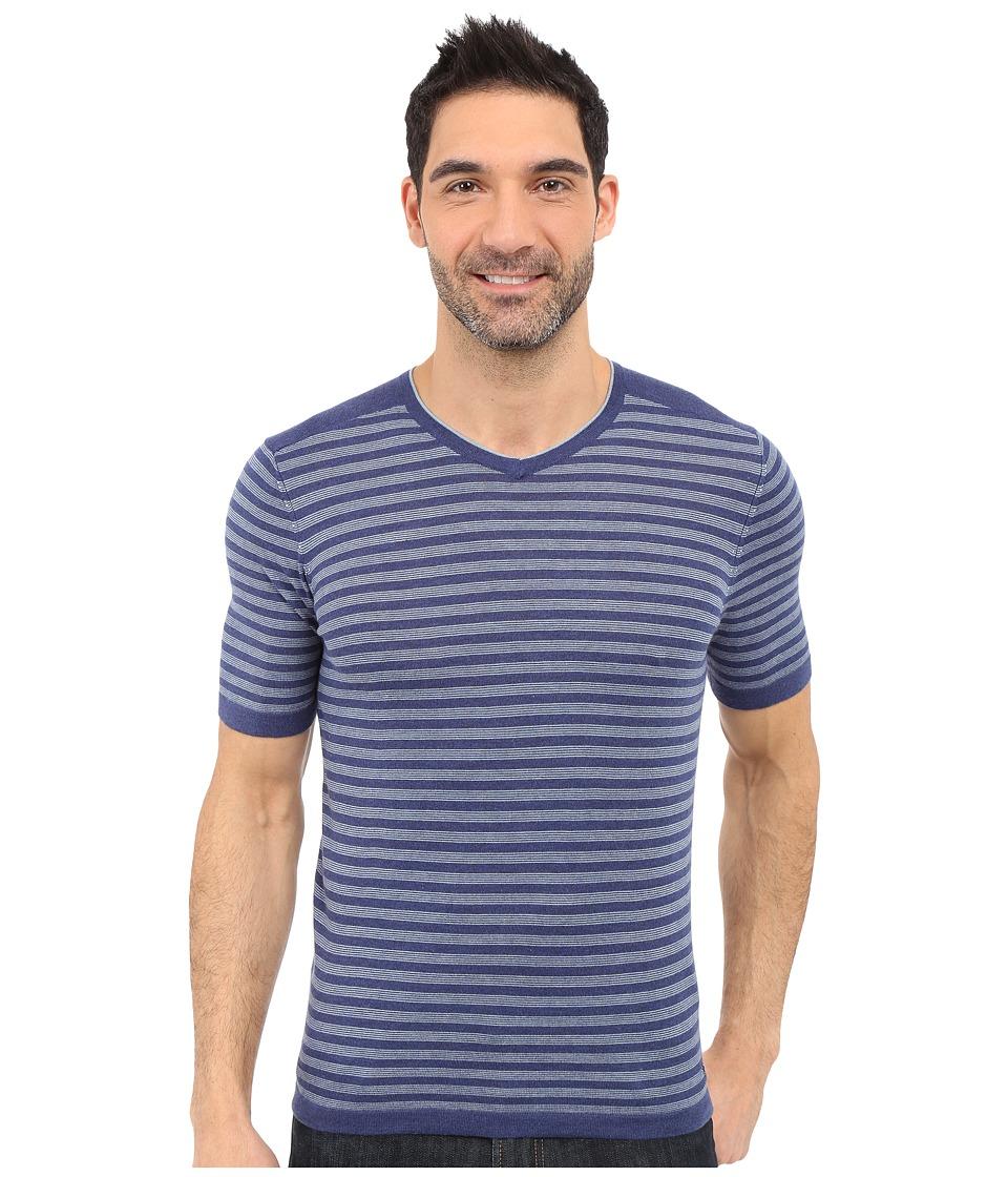 Agave Denim Mighty Mo Short Sleeve Striped V Neck Deep Cobalt/Citadel Mens Short Sleeve Pullover