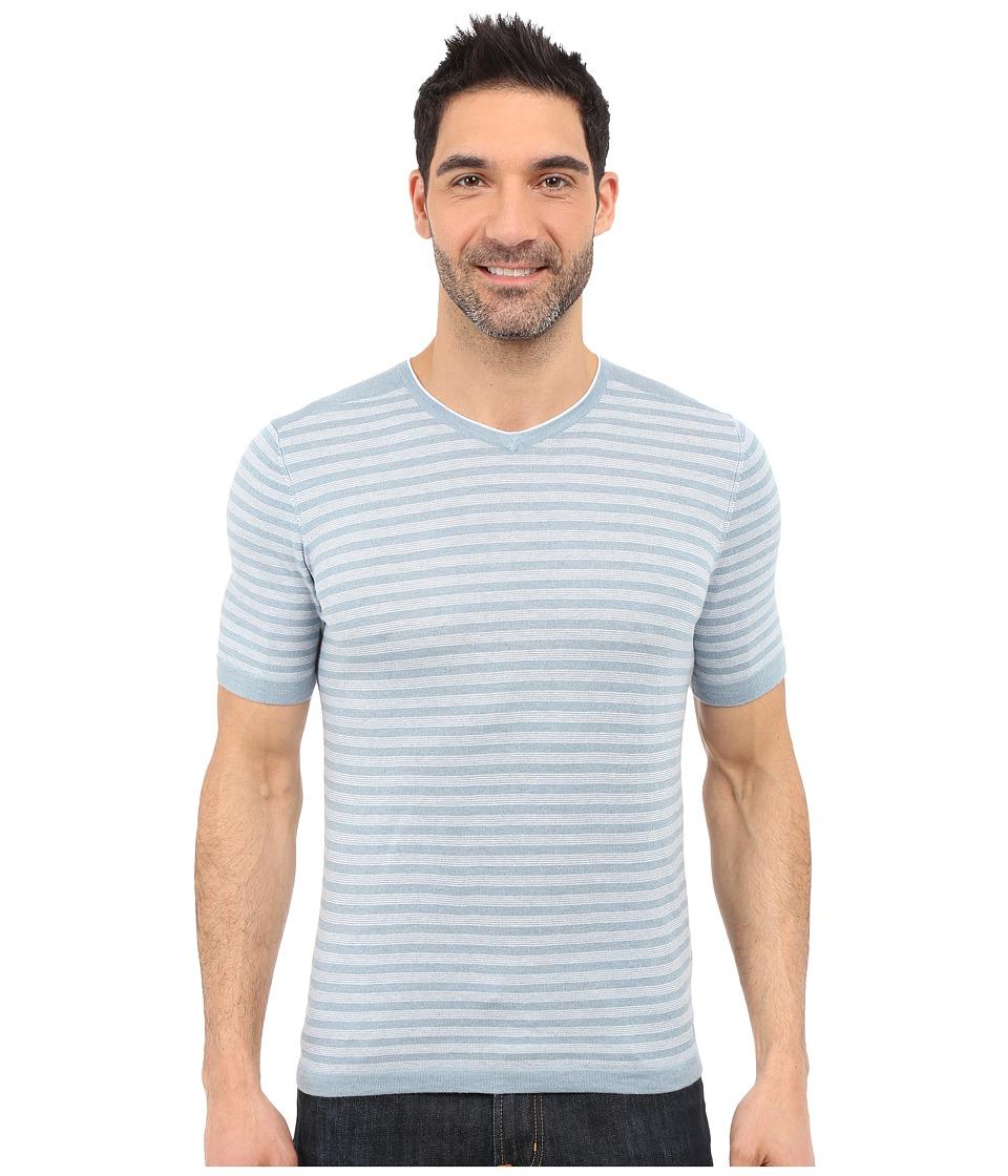 Agave Denim Mighty Mo Short Sleeve Striped V Neck Citadel/White Mens Short Sleeve Pullover
