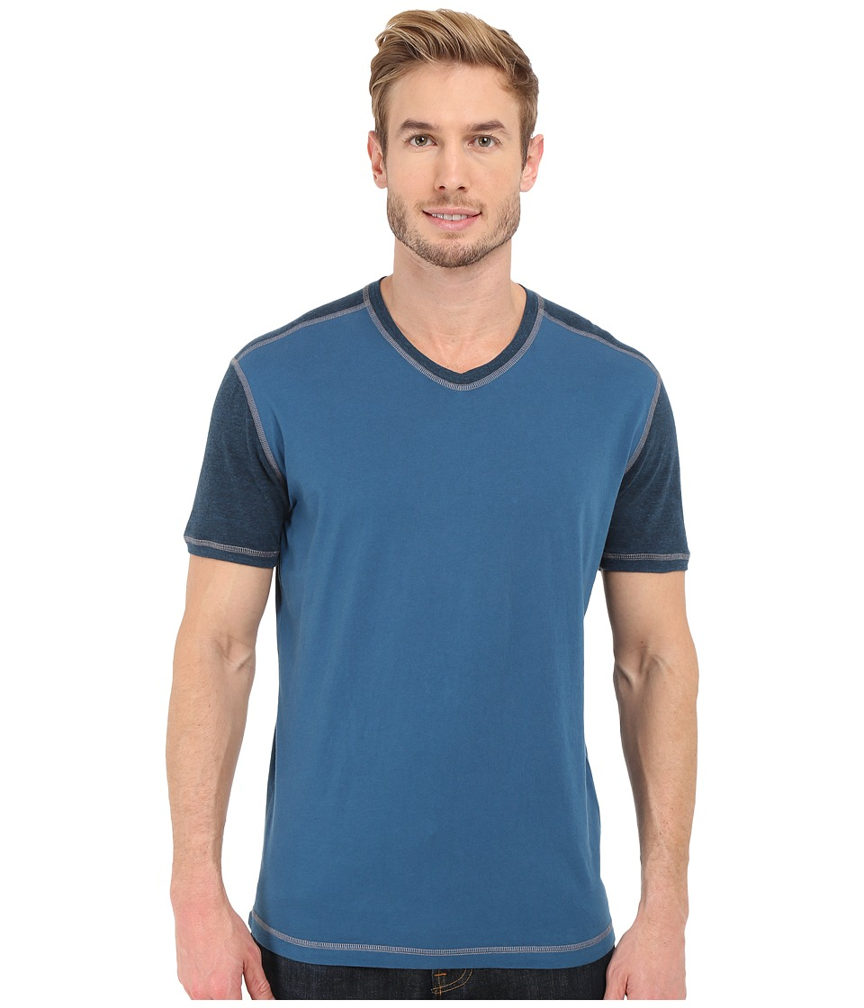 Agave Denim Rubicon Baseball V Neck Short Sleeve Blue Wing Teal Mens Short Sleeve Pullover