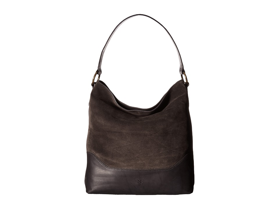 Frye - Paige Hobo (Smoke Polished Soft Full Grain/Suede) Hobo Handbags