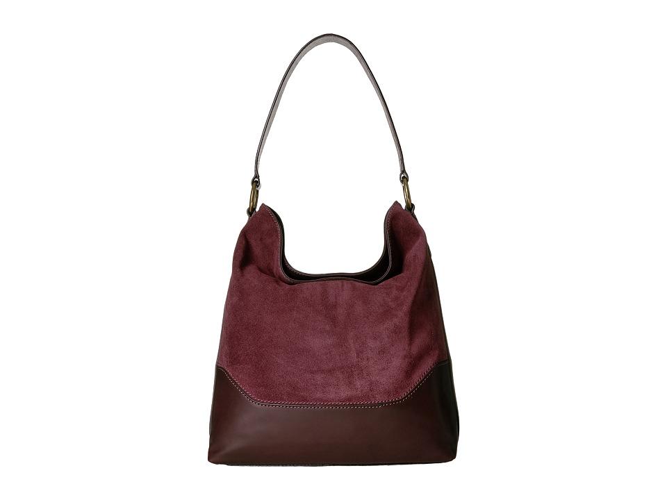 Frye - Paige Hobo (Wine Polished Soft Full Grain/Suede) Hobo Handbags