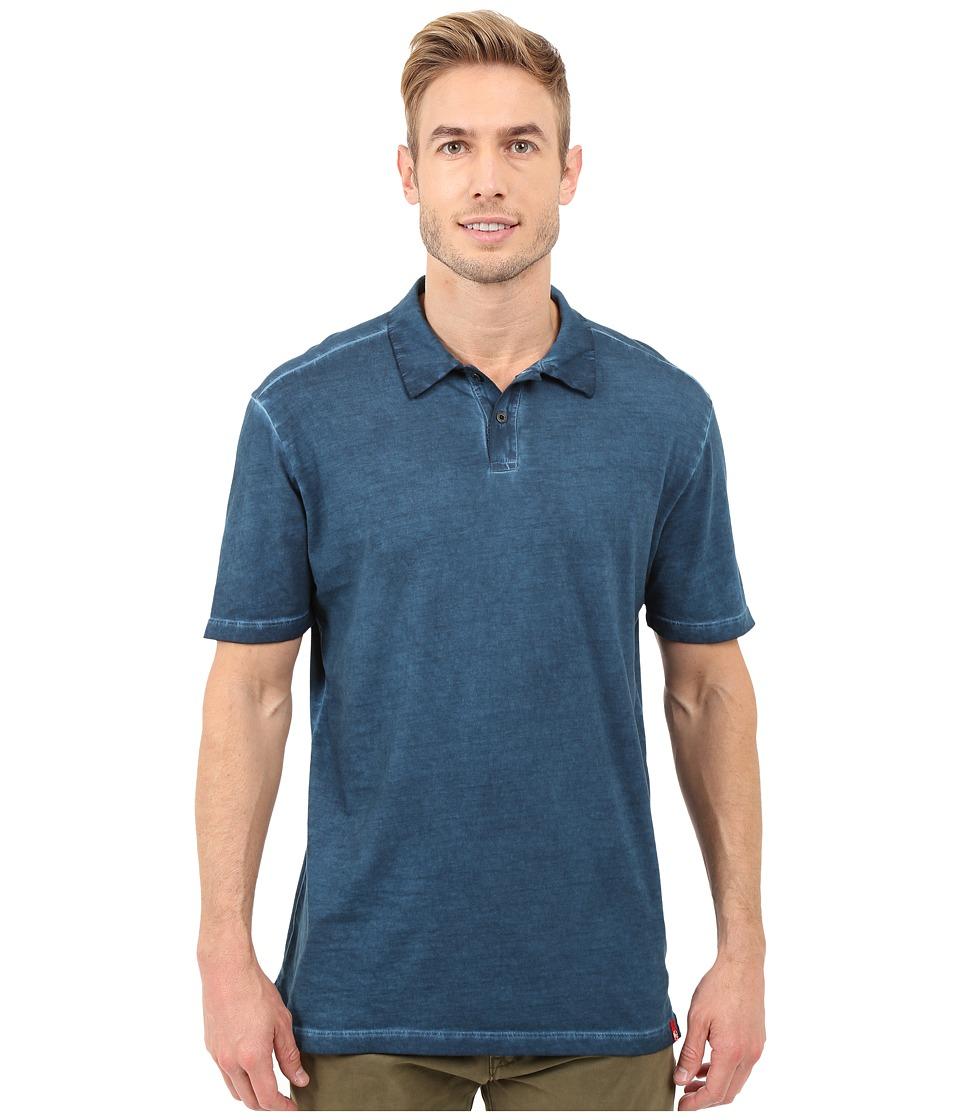 Agave Denim Rafferty Short Sleeve Polo Antique Blue Wing Teal Mens Short Sleeve Knit