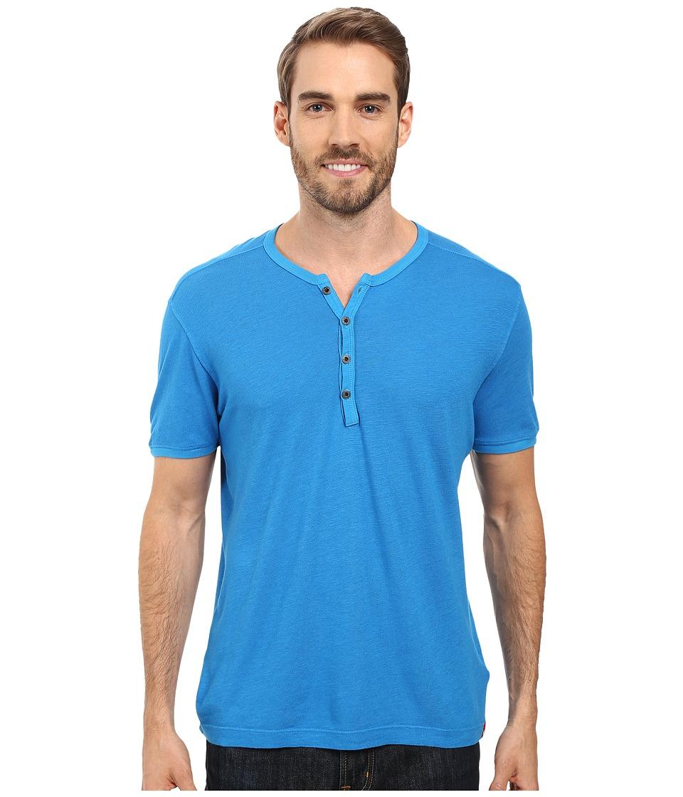 Agave Denim - Novo Short Sleeve Henley (Mediterranean Blue) Men