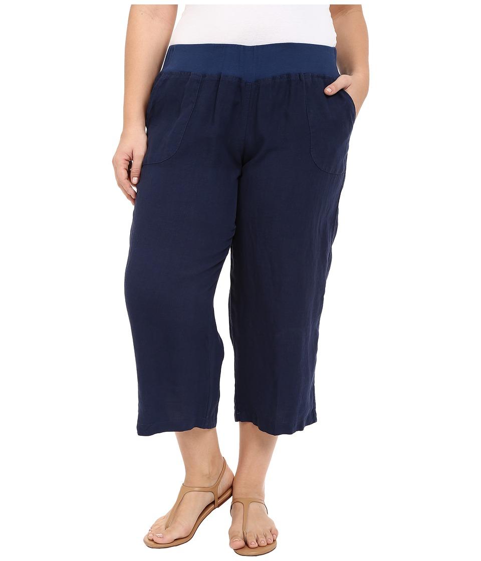 Allen Allen Plus Size Crop Pants w/ Rib Waist Lapis Womens Capri
