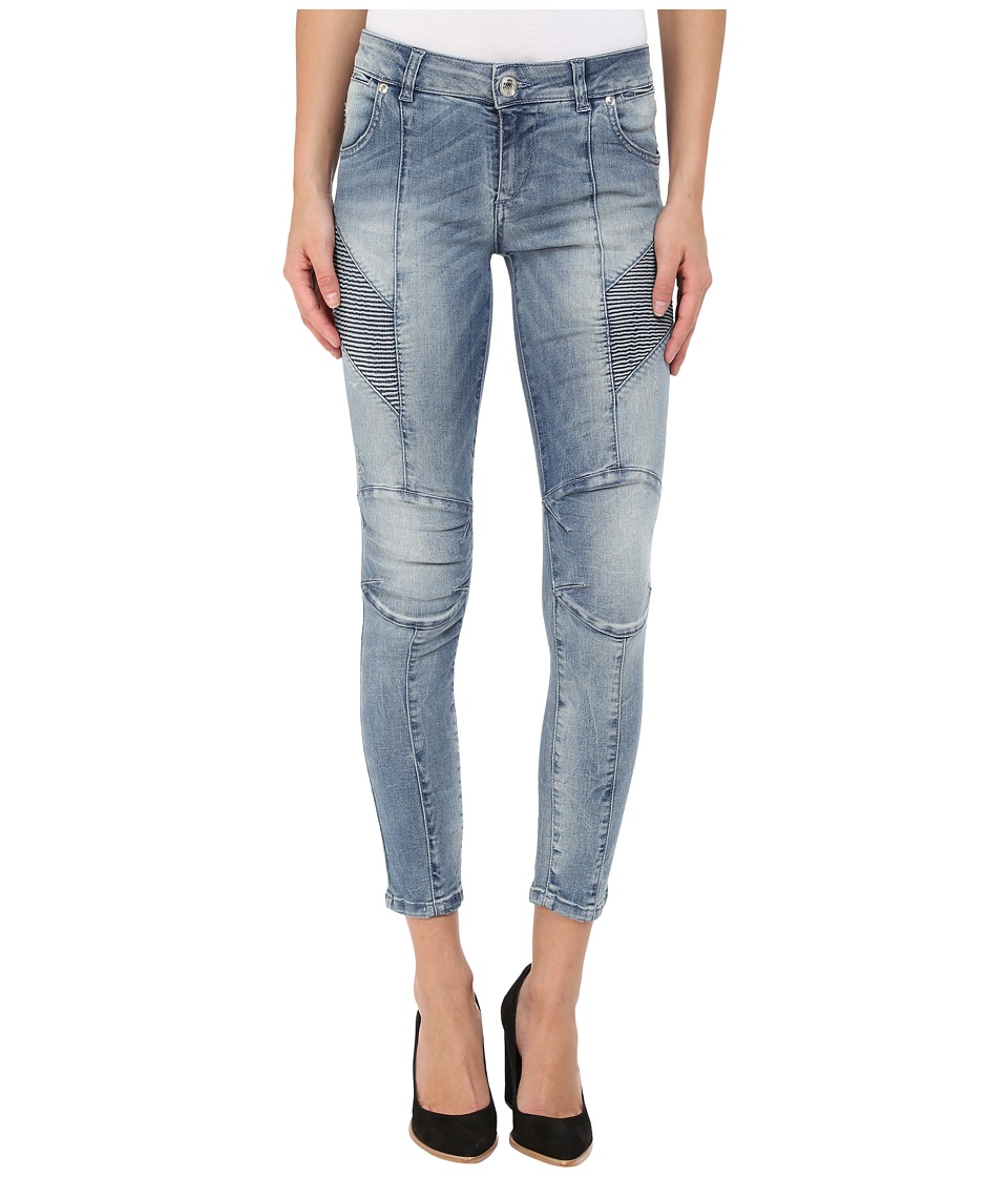 Pierre Balmain Faded Biker Jeans Denim Blue Womens Jeans
