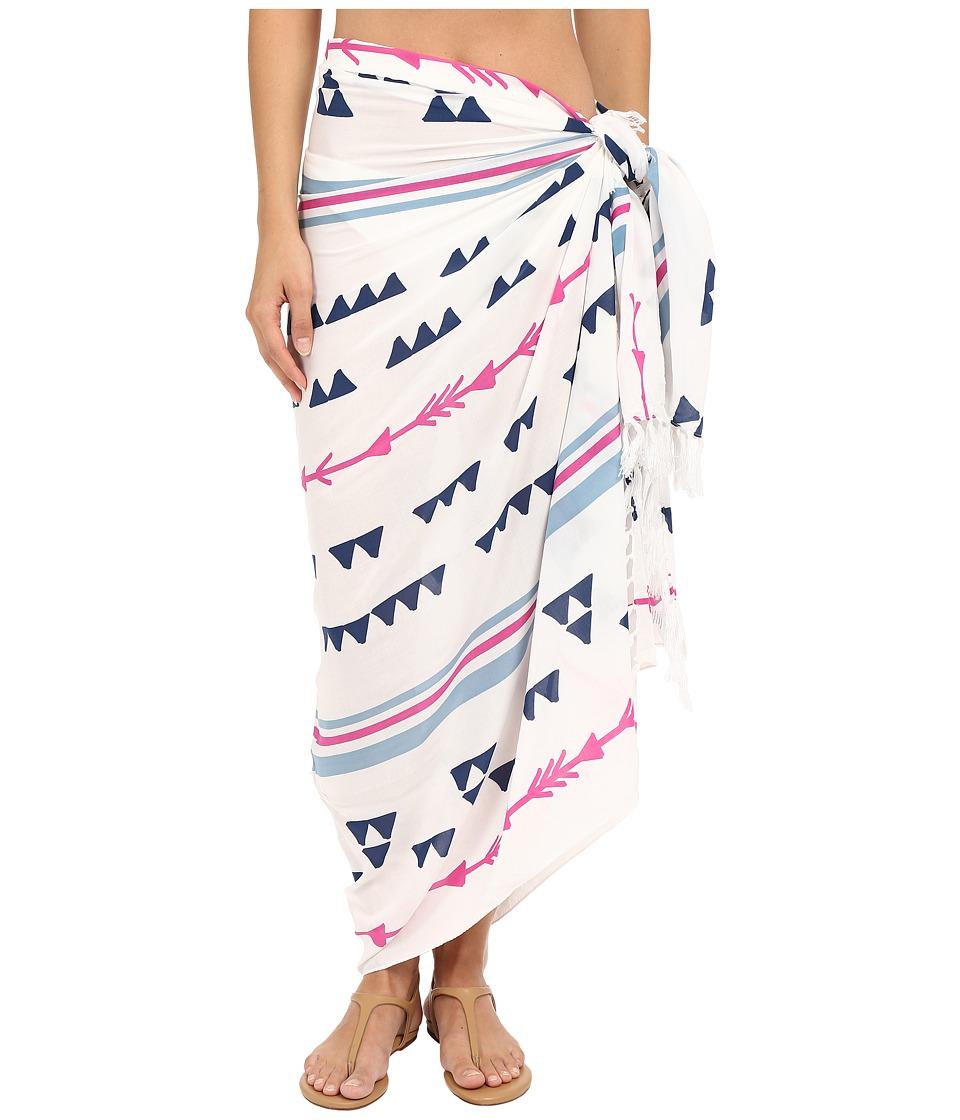 Plush Arrowhead Pareo White/Pink/Blue Scarves