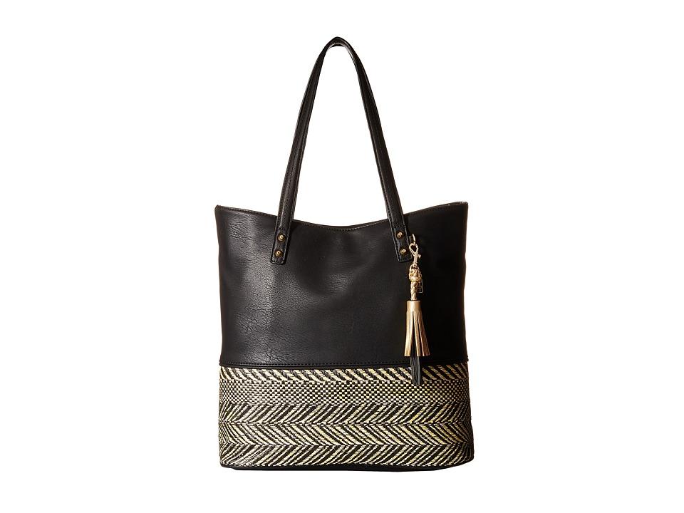 Jessica Simpson Brandi Tote Straw Black/Black Tote Handbags