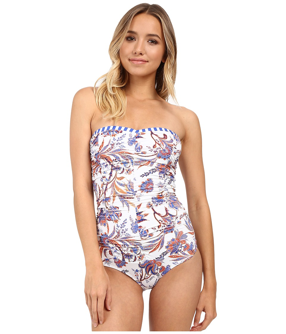 SAHA Freya Classic Saha Drapped Strapless One Piece White/Blue/Orange Floral/Blue/White Straps Womens Swimsuits One Piece