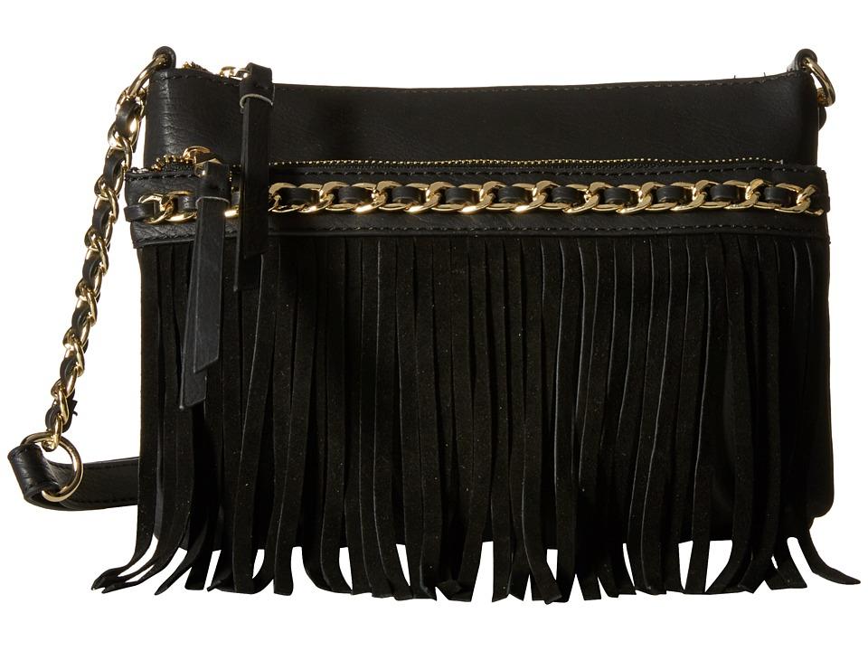 Jessica Simpson - Tyra Fringe Crossbody (Black) Cross Body Handbags