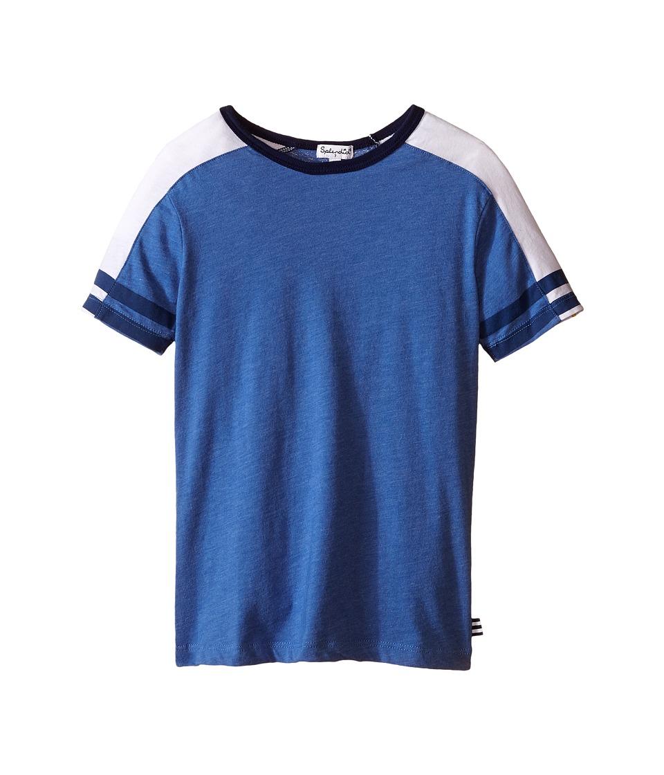 Splendid Littles Short Sleeve Raglan Crew with Stripe Sleeves Little Kids/Big Kids Light Blue Boys Short Sleeve Button Up