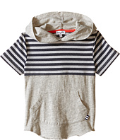 Splendid Littles - Short Sleeve Hoodie with Mesh Striped Panel (Little Kids/Big Kids)