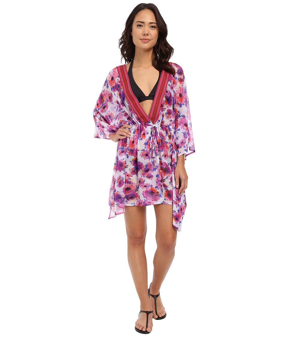 SAHA Flora Mesh Kaftan Cover Up Pink Floral Womens Swimwear