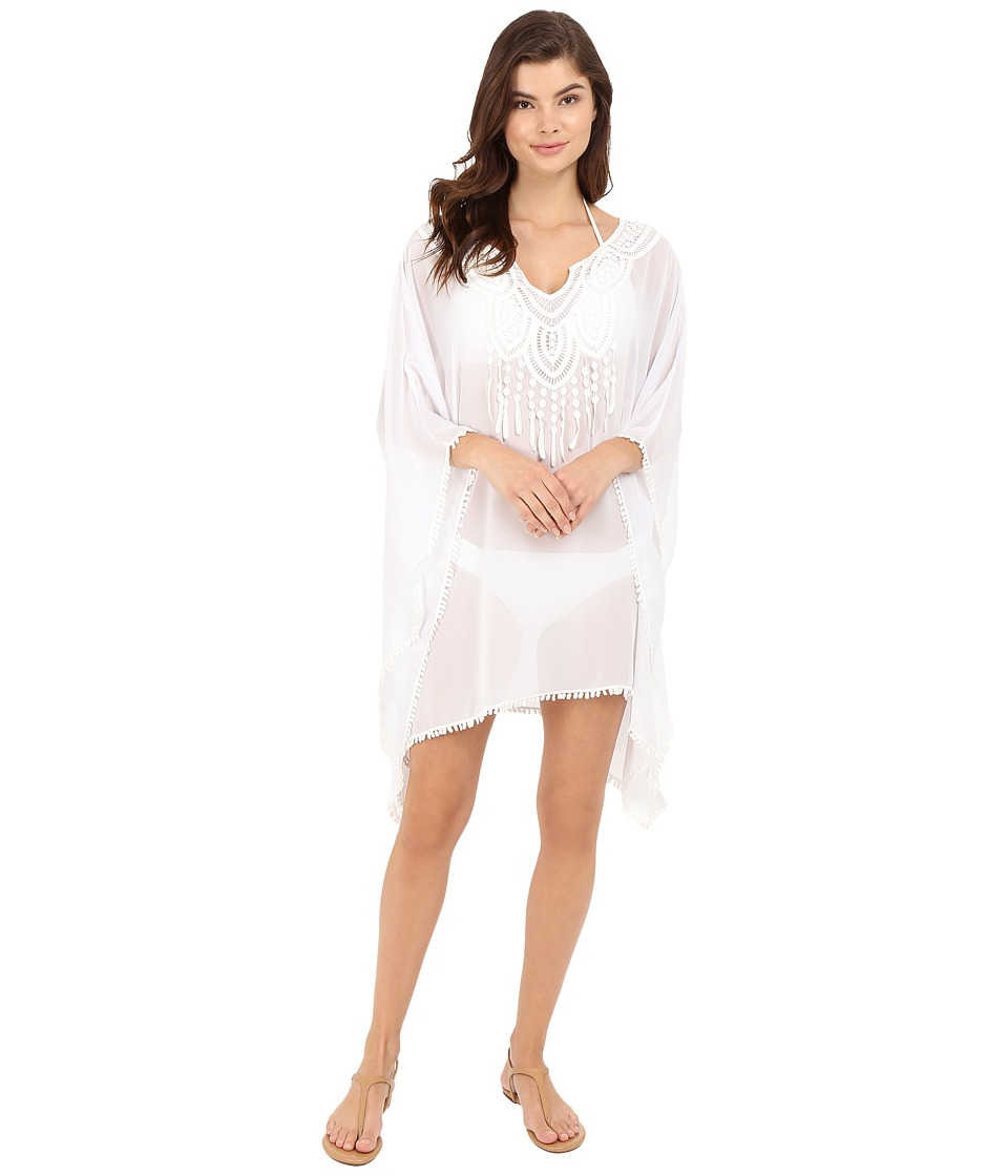 SAHA Freya Kaftan with Crochet in Front and Tassels Cover Up White Womens Swimwear