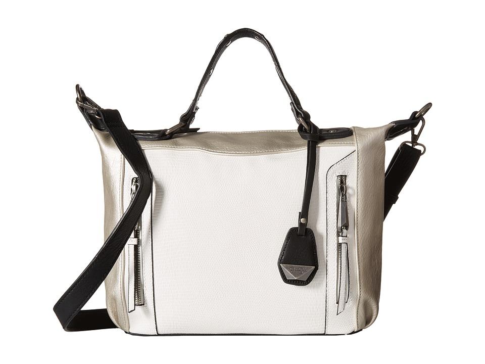 Jessica Simpson Kyle Crossbody Satchel White/Light Silver/Black Satchel Handbags