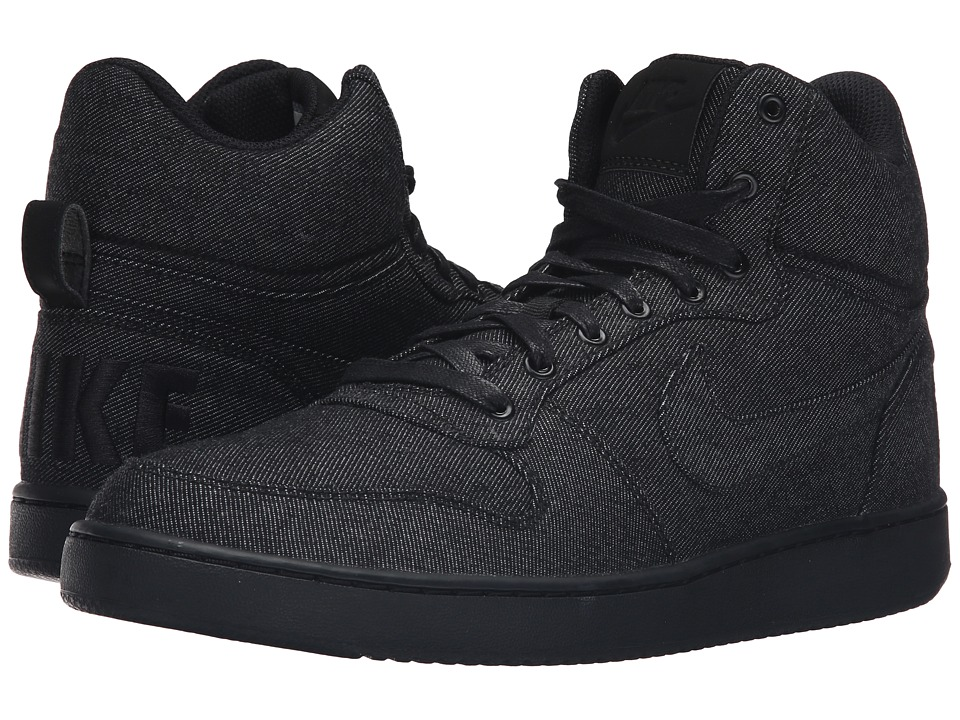 Nike - Recreation Mid Prem (Black/Black/Black) Mens Basketball Shoes